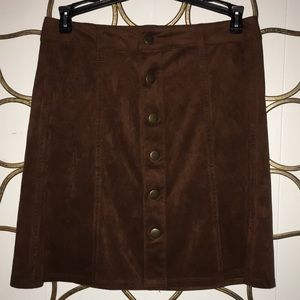 chocolate brown faux suede mini sz 4